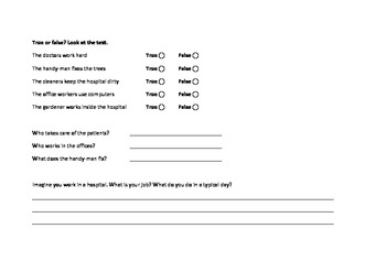 Jobs in a Hospital Worksheet for ESL Students