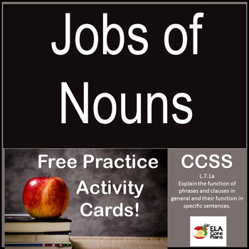 Jobs of Nouns Task Cards