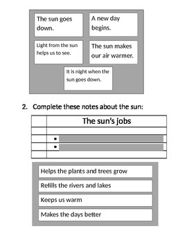 Jobs of the Sun Expository Passage TEI Questions