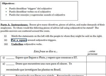Jobs with subjunctive - Avancemos 3  / Trabajos con subjuntivo