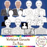 Joe Biden Clip Art Worksheet Elements for Tracing Cutting Maze
