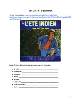 French Music - Joe Dassin - L'été indien  - Pratique pour le futur simple