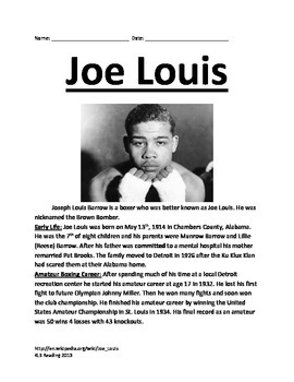 Joe Louis - Boxer - Review Article History Facts Questions