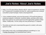 Joe's Notes About Joe's Notes PPTX