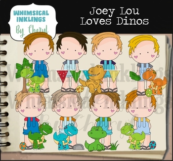 Joey Lou Loves Dinos Clipart Collection