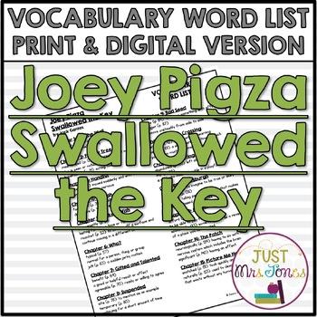 Joey Pigza Swallowed the Key Vocabulary Word List