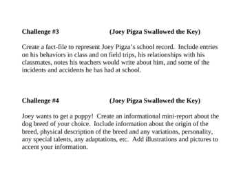"""""""Joey Pigza Swallowed the Key"""", by J Gantos, Project Challenges"""