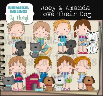 Joey and Amanda Love Their Dogs Clipart Collection