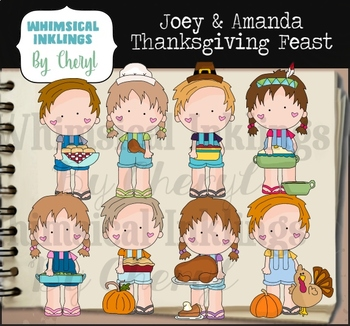 Joey and Amanda Thanksgiving Feast Clipart Collection