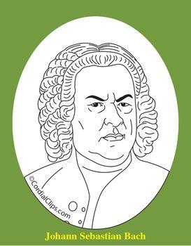 Johann Sebastian Bach Clip Art, Coloring Page, or Mini-Poster
