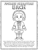 johann sebastian bach famous composer informational text coloring page craft