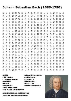Johann Sebastian Bach Word Search