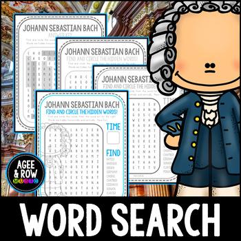 Johann Sebastian Bach Word Search, Baroque, Organ, Composer, Spelling,