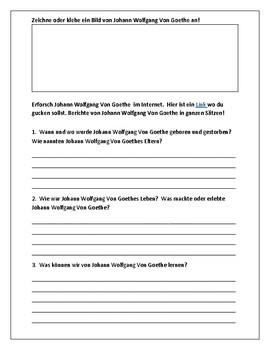 Johann Wolfgang Von Goethe:  Berühme Persönlichkeiten - Famous Person Worksheet