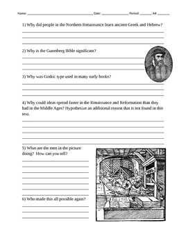 Johannes Gutenberg Biography Worksheet