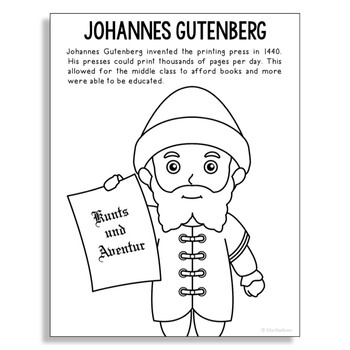 Johannes Gutenberg Coloring Page Craft or Poster, STEM Technology History