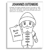 JOHANNES GUTENBERG Inventor Coloring Page Craft or Poster, STEM History