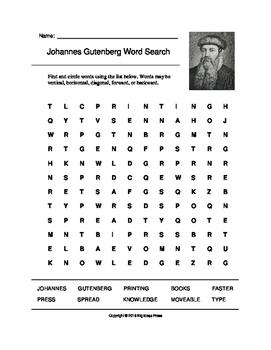 Johannes Gutenberg Word Search (Grades 4-5)