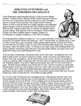 Johannes Gutenberg Biography Worksheet and Crossword Puzzle