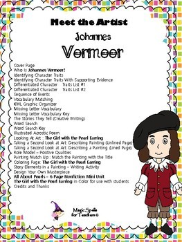 Johannes Vermeer - Girl With a Pearl Earring - Meet the Artist Series - Lit Unit