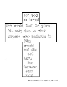 john 3 16 cross easter coloring page by teaching diligently tpt john 3 16 cross easter coloring page by