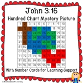 John 3:16 or Christian Earth Day Hundred Chart Mystery Picture w/ Bible Clue