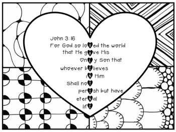 john 3 16 coloring pages John 3:16 Valentine Coloring Page Zentangle Printable by Kelly  john 3 16 coloring pages