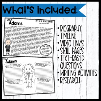 John Adams: Biography, Timeline, Graphic Organizers, Text-based Questions
