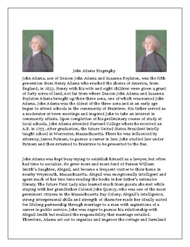 John Adams Biography with Reading Comprehension Questions