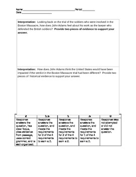 John Adams' Boston Massacre Diary Entry Primary Doc Interpretation Activity