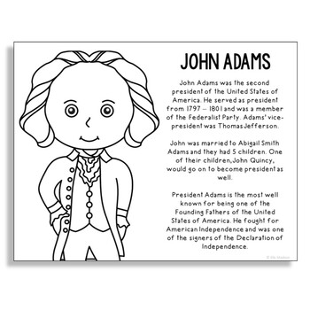 President John Adams Coloring Page Craft or Poster with Mini Biography
