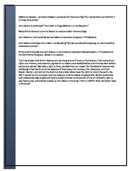 John Adams HBO Episode one worksheet