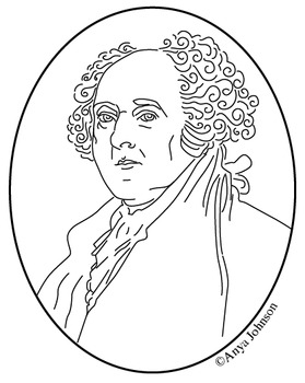 John Adams (2nd President) Clip Art, Coloring Page or Mini Poster