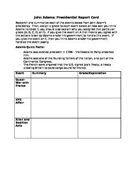 John Adams Presidential Report Card