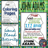 John Adams Coloring Page and Word Cloud Activity
