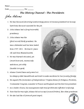 John Adams and Thomas Jefferson Video Guide - A&E Series The Presidents