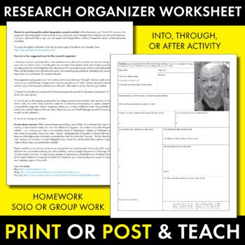 John Boyne Author Study Worksheet, Easy John Boyle Biography Activity, CCSS