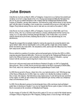 John Brown Article and Assignment