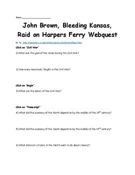 John Brown, Bleeding Kansas, Raid on Harpers Ferry Webquest