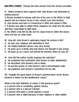 John Brown and the Harper's Ferry Raid Reading Comprehension Worksheet