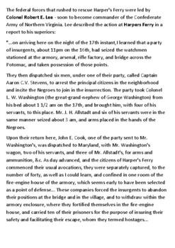 John Brown's raid on Harpers Ferry Handout