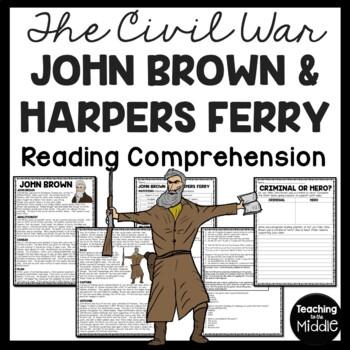 John Brown & the Harpers Ferry Raid Reading Comprehension Worksheet, Civil War