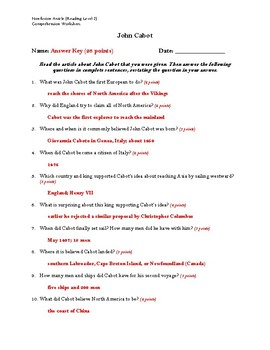 John Cabot Article (Read Level 2) Comprehension Worksheet