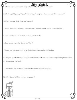 John Cabot Differentiated Reading Passages & Comprehension Questions