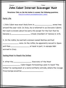 John Cabot Internet Scavenger Hunt WebQuest Activity