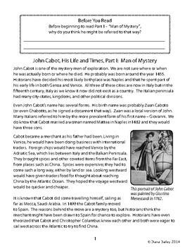 Explorer John Cabot Biography Informational Texts Activities