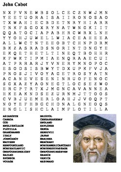 John Cabot Word Search