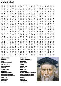 John Cabot Word Search