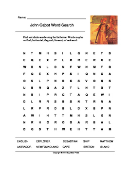 John Cabot Word Search (Grades 2-4)