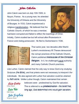 John Calvin + Assessment